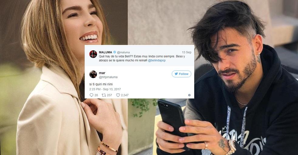 Maluma le twittea a Belinda y la gente comienza a burlarse de él.