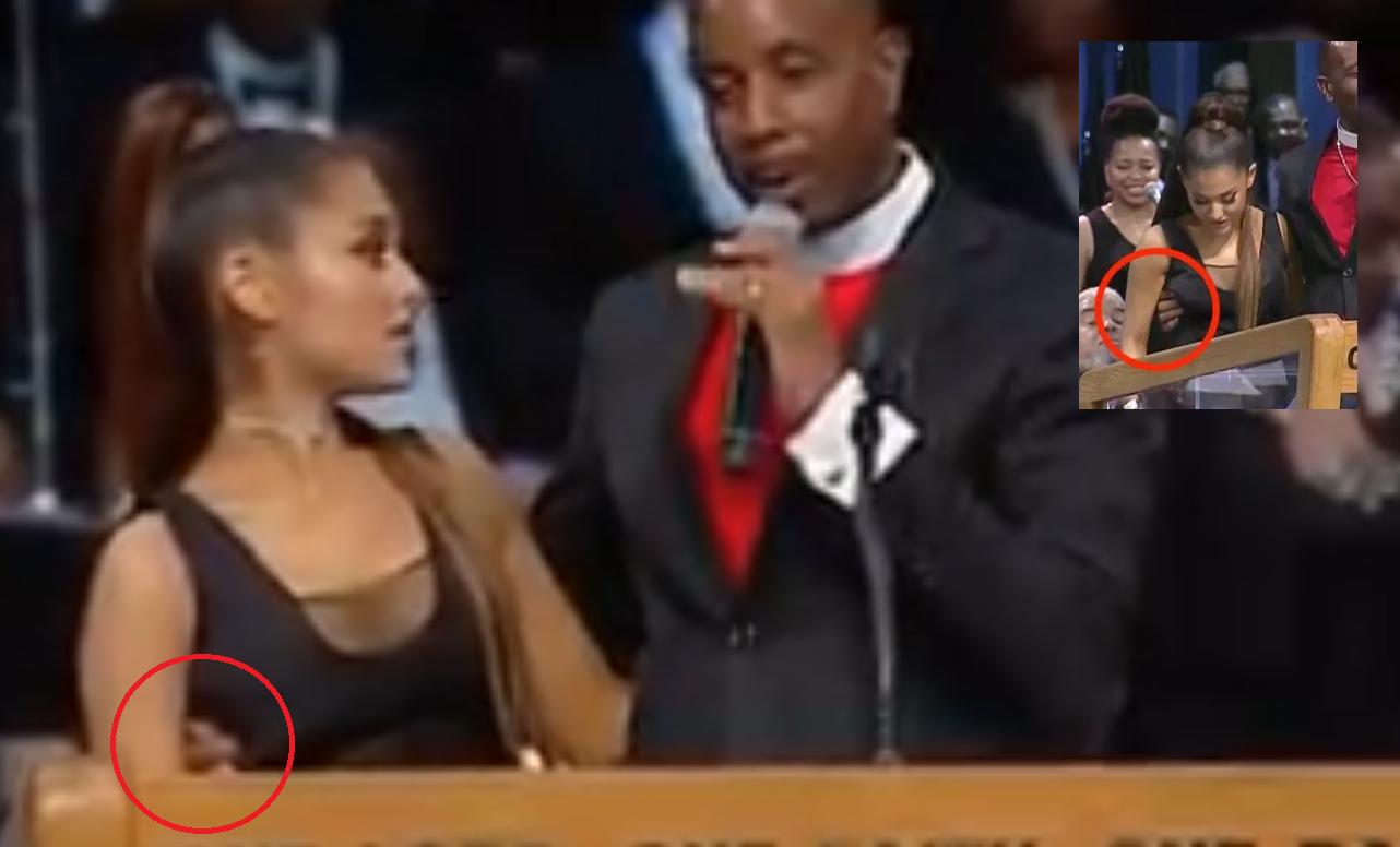 Ariana Grande fue manoseada por un pastor durante el funeral de Aretha Franklin