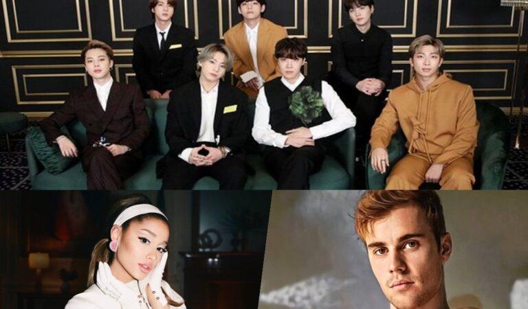 Tras asociarse con la compañía de BTS, Ariana Grande y Justin Bieber aumentan sus ganancias exponencialmente